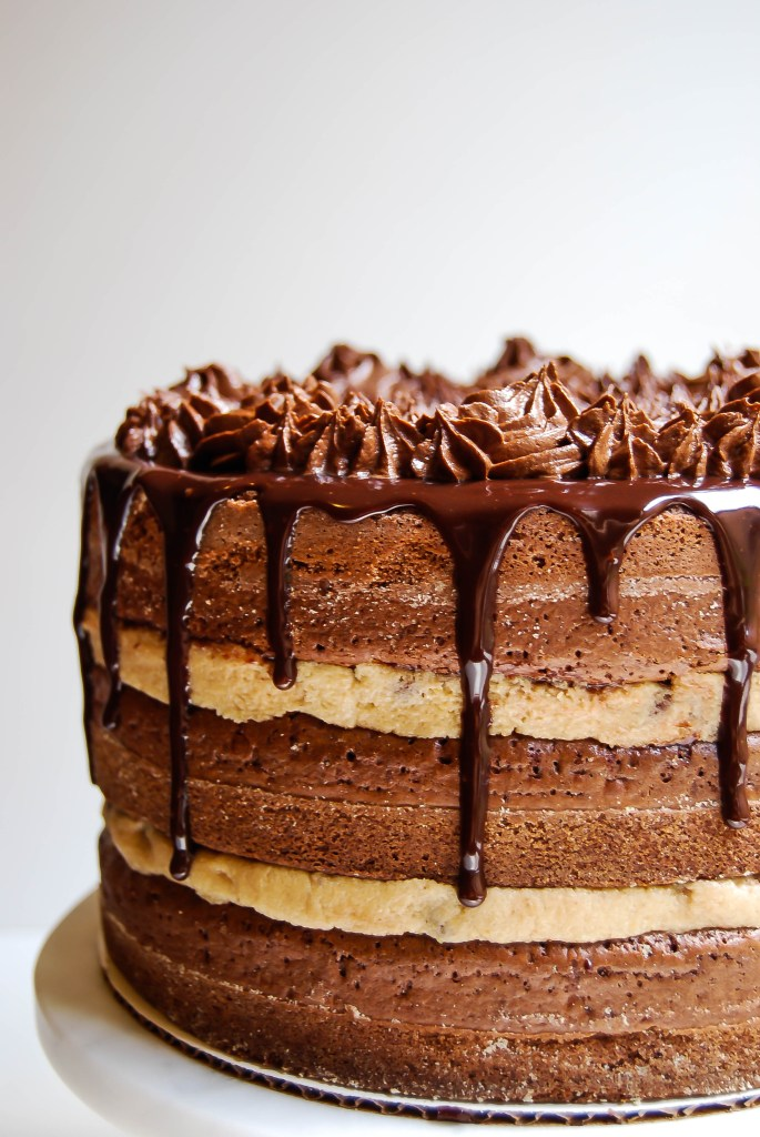 Gluten Free Chocolate Chip Cookie Dough Brownie Cake - Flour Covered Apron