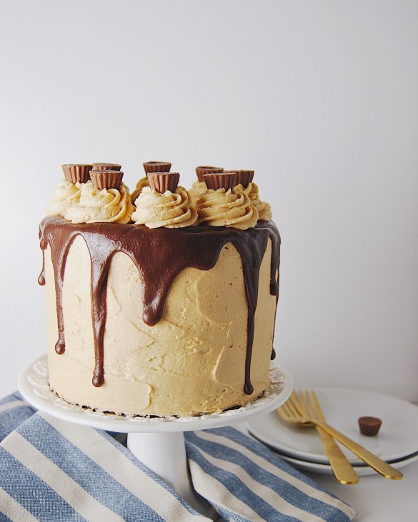 Chocolate Peanut Butter Cup Layer Cake - Flour Covered Apron