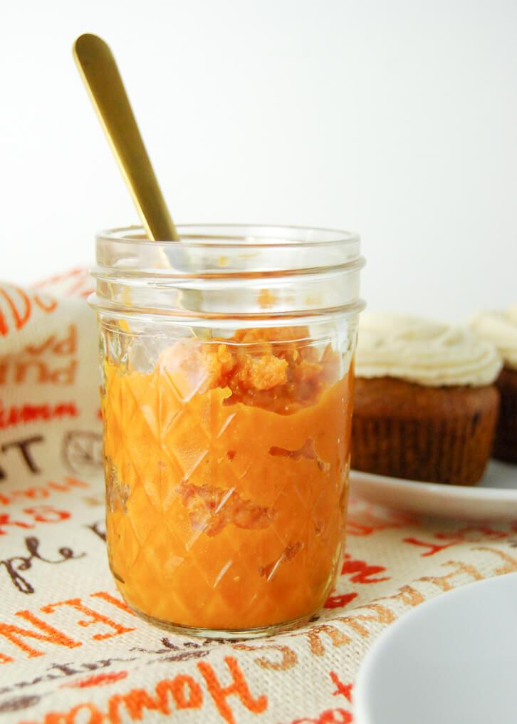 Pumpkin puree, perfect for making pumpkin apple cupcakes
