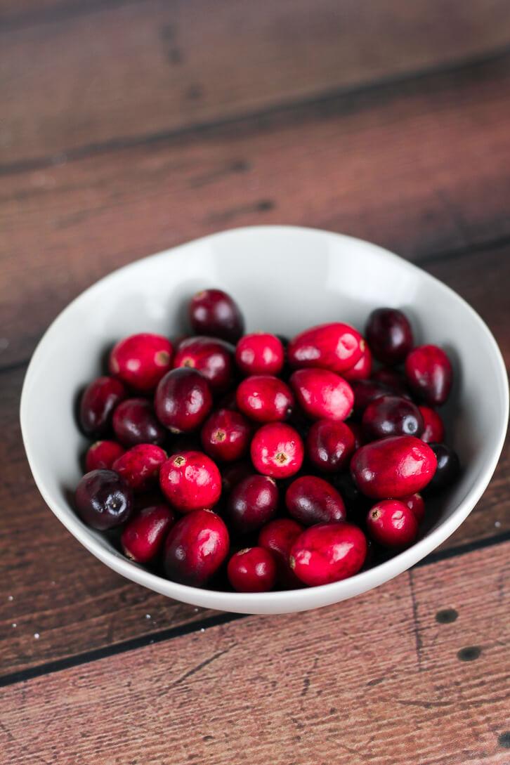 Bowl of fresh cranberries - Cranberry Apple Cake