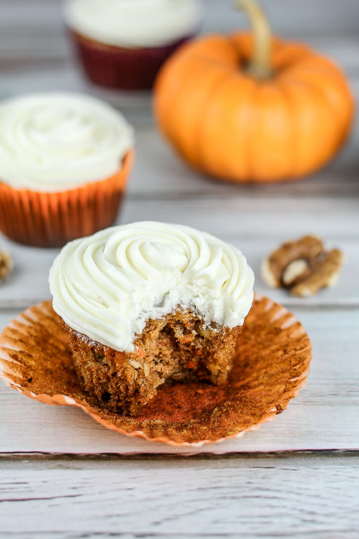 Pumpkin Carrot Cupcakes with Cream Cheese Frosting - Flour Covered Apron