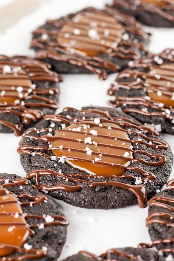 Salted Caramel and Dark Chocolate Thumbprint Cookies - Flour Covered Apron