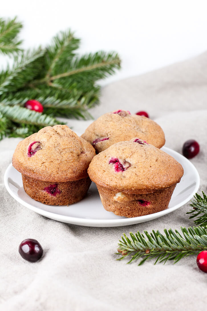 A plate of cranberry pear muffins - an easy breakfast recipe