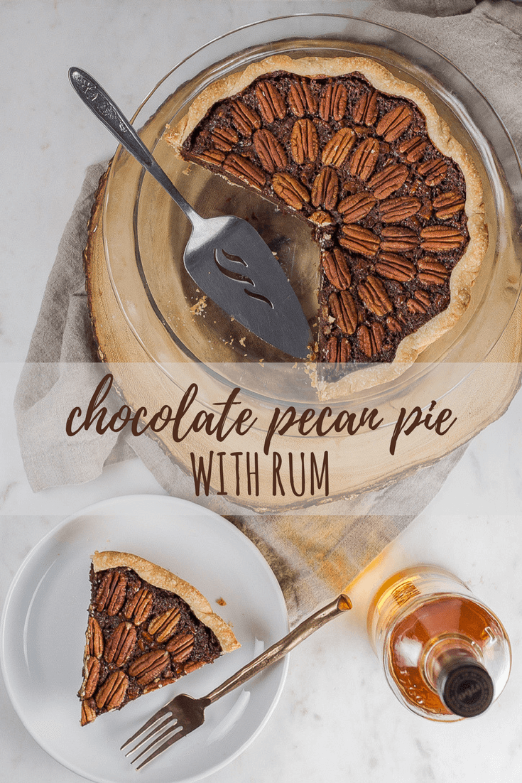 The filling in this chocolate pecan pie recipe gets a little extra kick from a shot of rum. The result is a perfectly rich and chocolatey dessert, filled with crunchy pecans.
