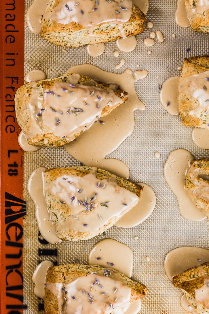 Pools of lavender and Earl Grey glaze are the perfect sweet and floral addition to these Earl Grey Scones
