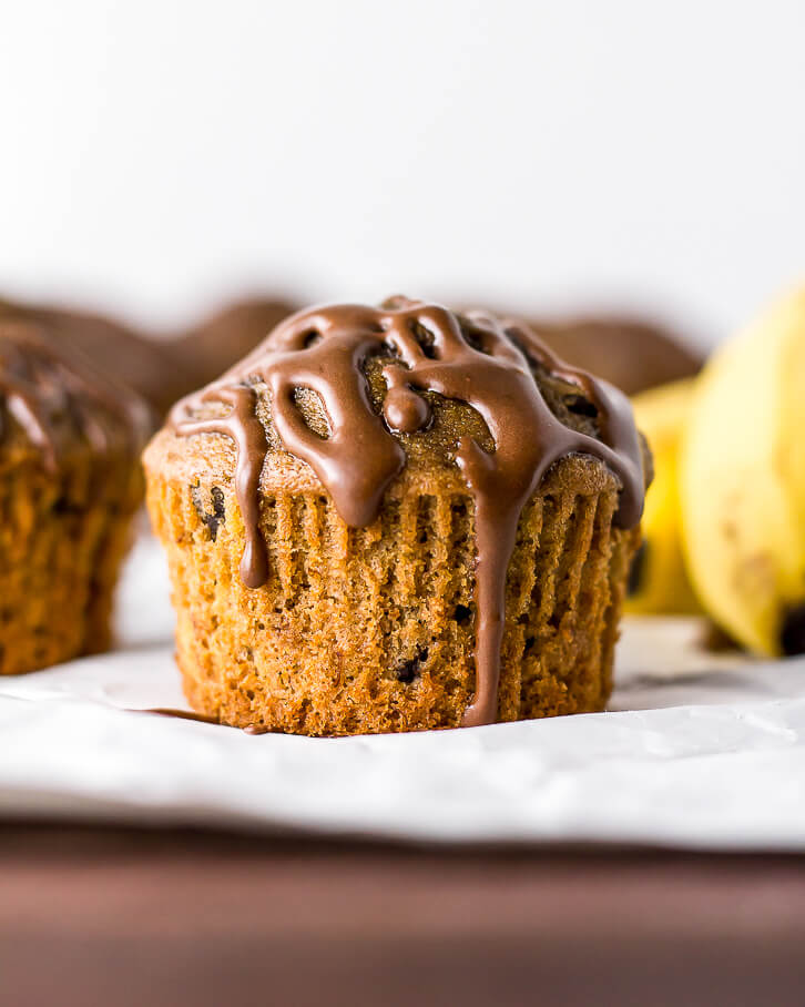 Espresso Banana Muffins + Chocolate Espresso Glaze - Flour Covered Apron