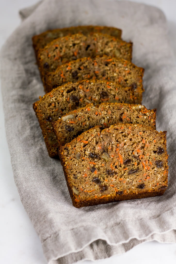 A lightened-up, whole wheat carrot bread recipe filled with walnuts, raisins, shredded coconut, and a touch of lemon zest. It's like eating carrot cake for breakfast!