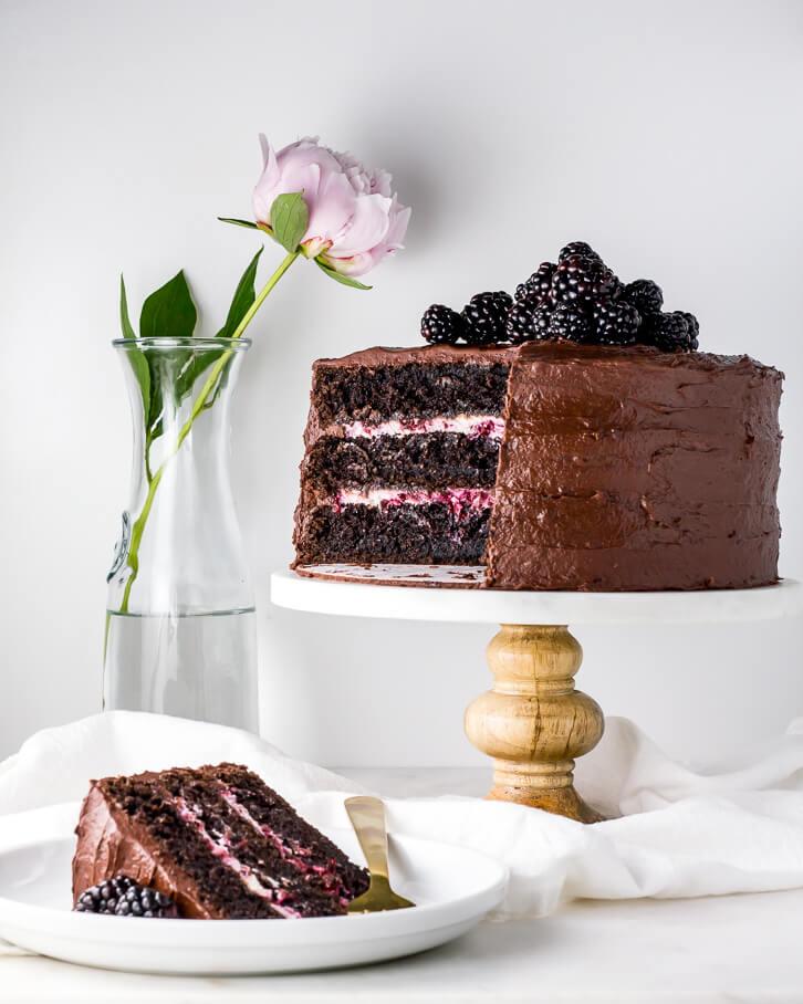 Blackberry Chocolate Cake Blackberry Mascarpone Filling Flour Covered Apron