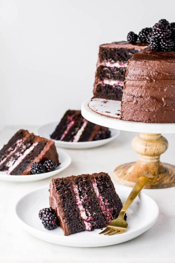 Your Favorite Recipes of 2018 - Blackberry Chocolate Cake with Blackberry Mascarpone Filling | Flour Covered Apron