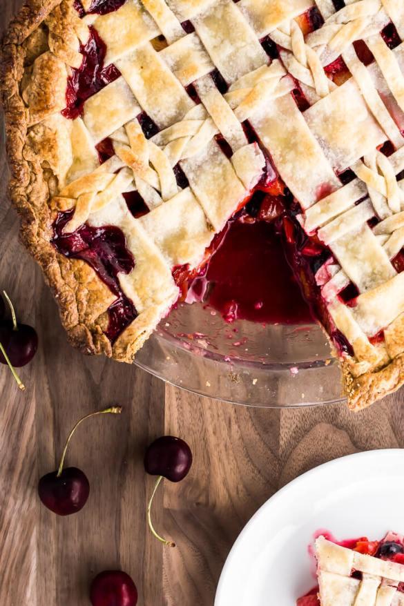Cherry Berry Peach Pie with a Lattice Crust   Flour Covered Apron