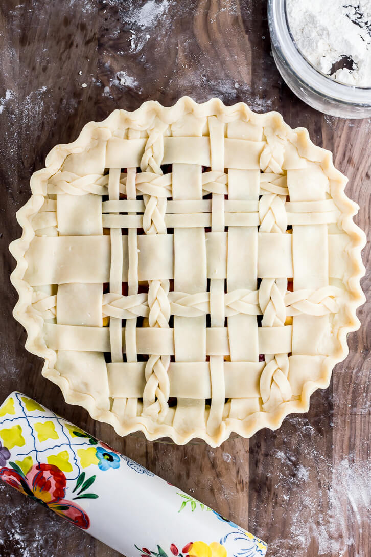 Braided lattice crust tutorial | Cherry Berry Peach Pie | Flour Covered Apron