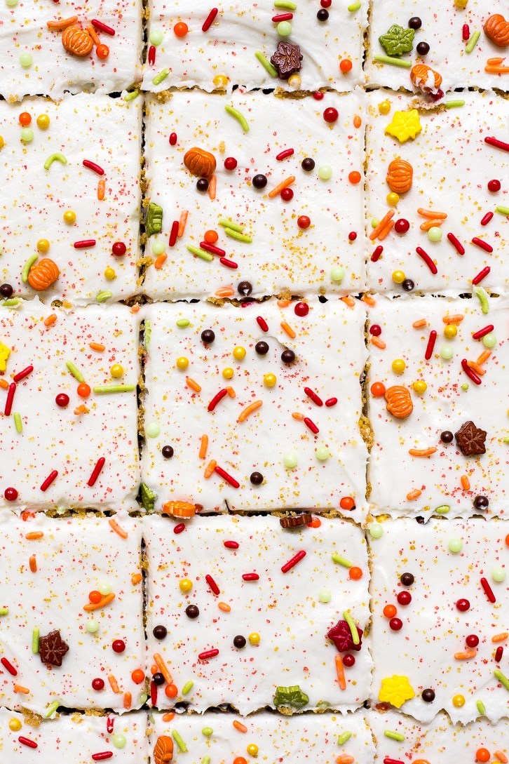 Sweet Potato Sheet Cake with Cream Cheese Frosting and Autumn Sprinkles