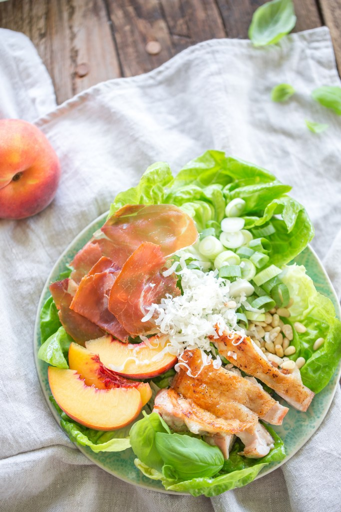 Gluten Free Peach Pesto Chicken Caesar Salad by Colorful Eats