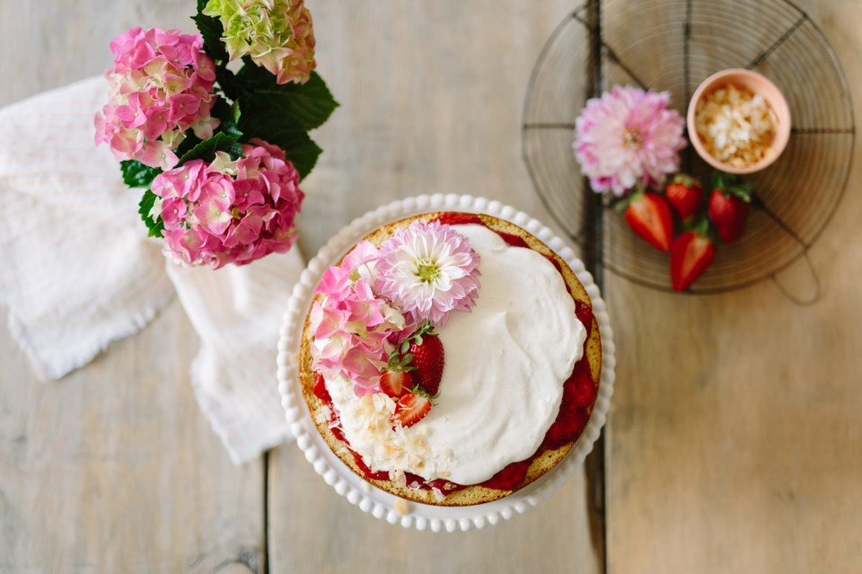 Grain-Free Strawberry Jam Cake with Vanilla Bean Frosting by Colorful Eats