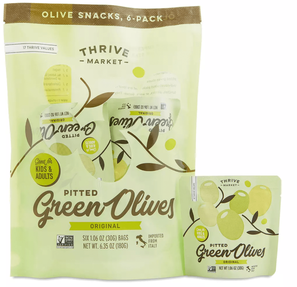 big bag of green olives with a snack size olive pouch next to it
