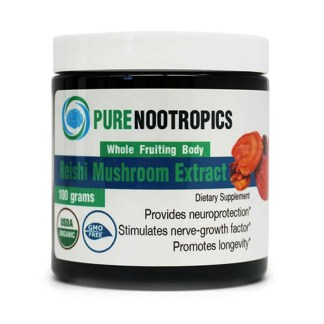 solstice supplements pure nootropics organic reishi mushroom powder cannister