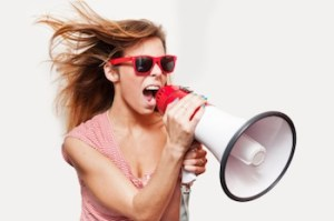 image of woman using a megaphone