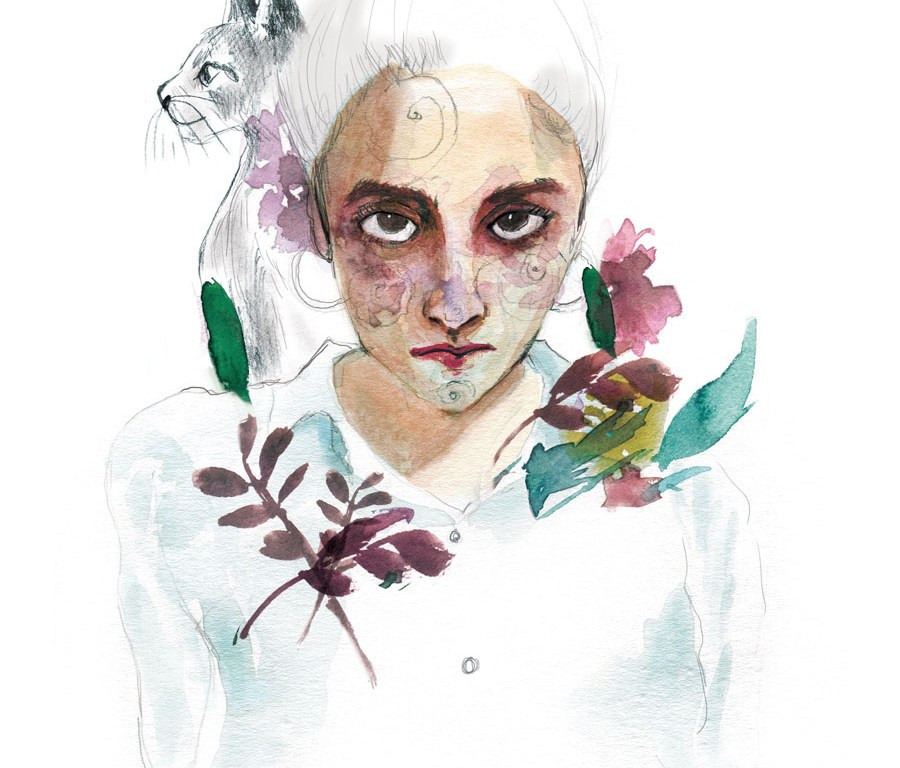 Watercolor Portrait with Animal and botanicals