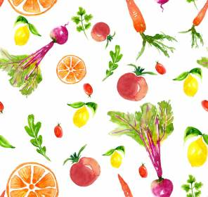 Vegetables and fruits in watercolor