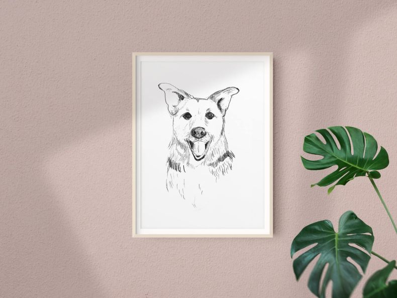 Dog Portrait in Graphite by FlowArte