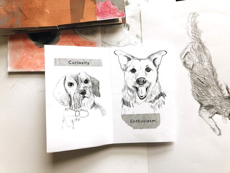 Inside Pages of the Pencil Dogs Zine