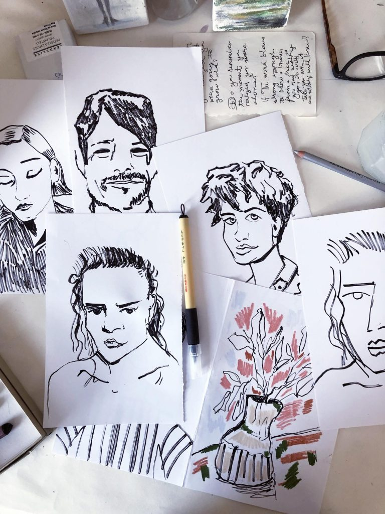 FlowArte Quick black ink portraits