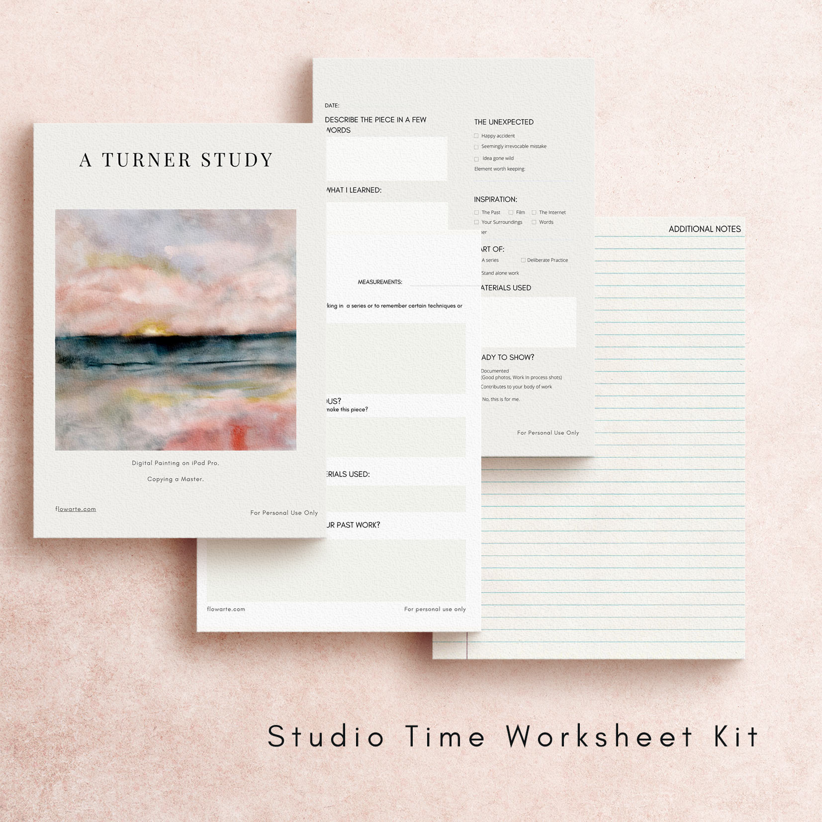 Sample sheets of Studio Time Kit