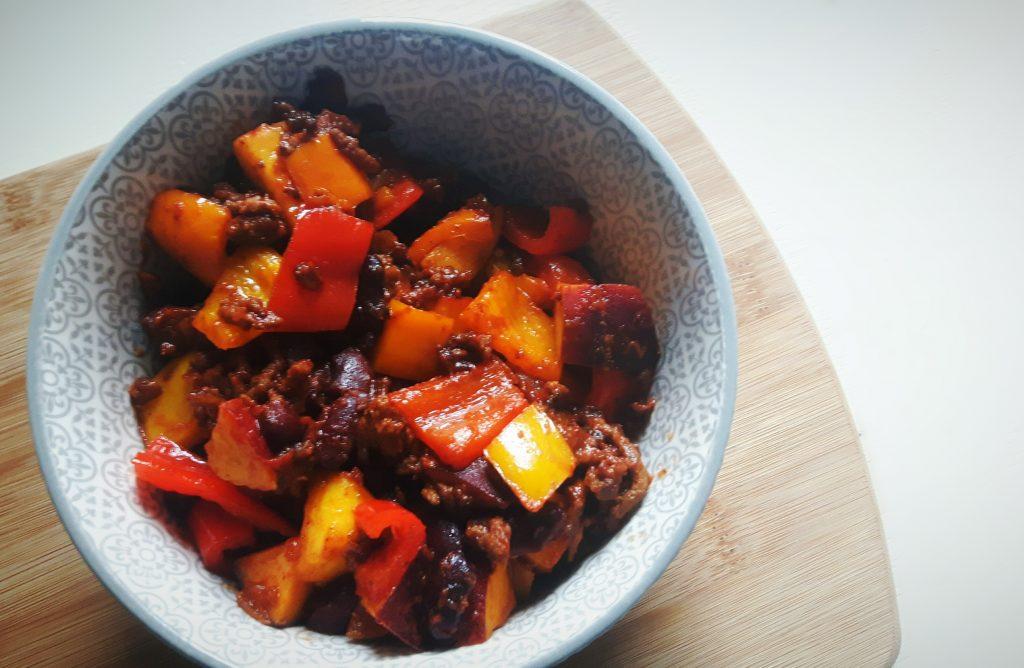 Chili con carne met perzik - flowcarbfood.nl