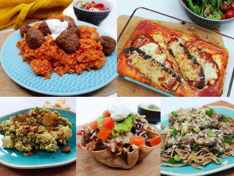 Koolhydraatarm vegetarisch weekmenu