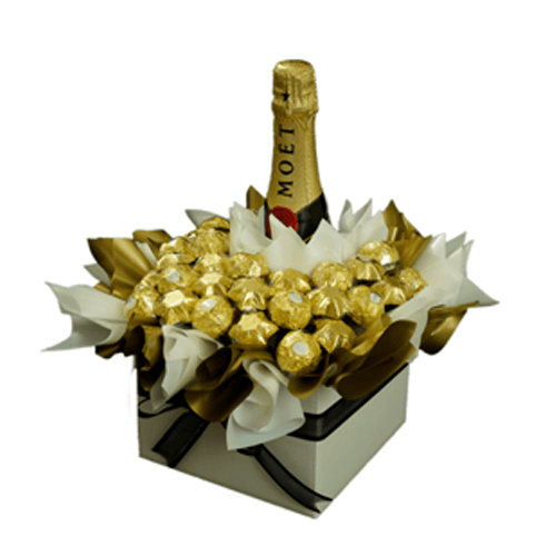 ferrero chocolate arrange in box with moet