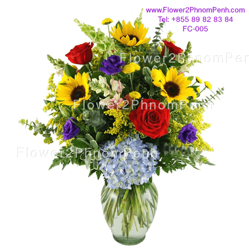 mixed flower arrange in glass vase