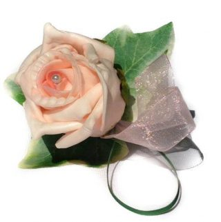 Pink Rose with Pearl and Ivy Leaves