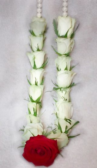 White Rose Wedding Garland 3 by Flower Busy