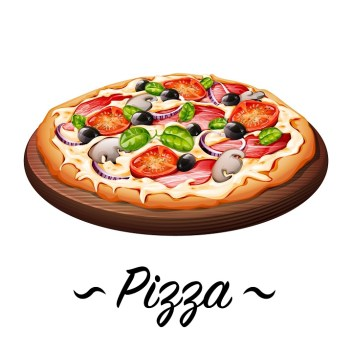 An illustration of the Italian staple called Pizza