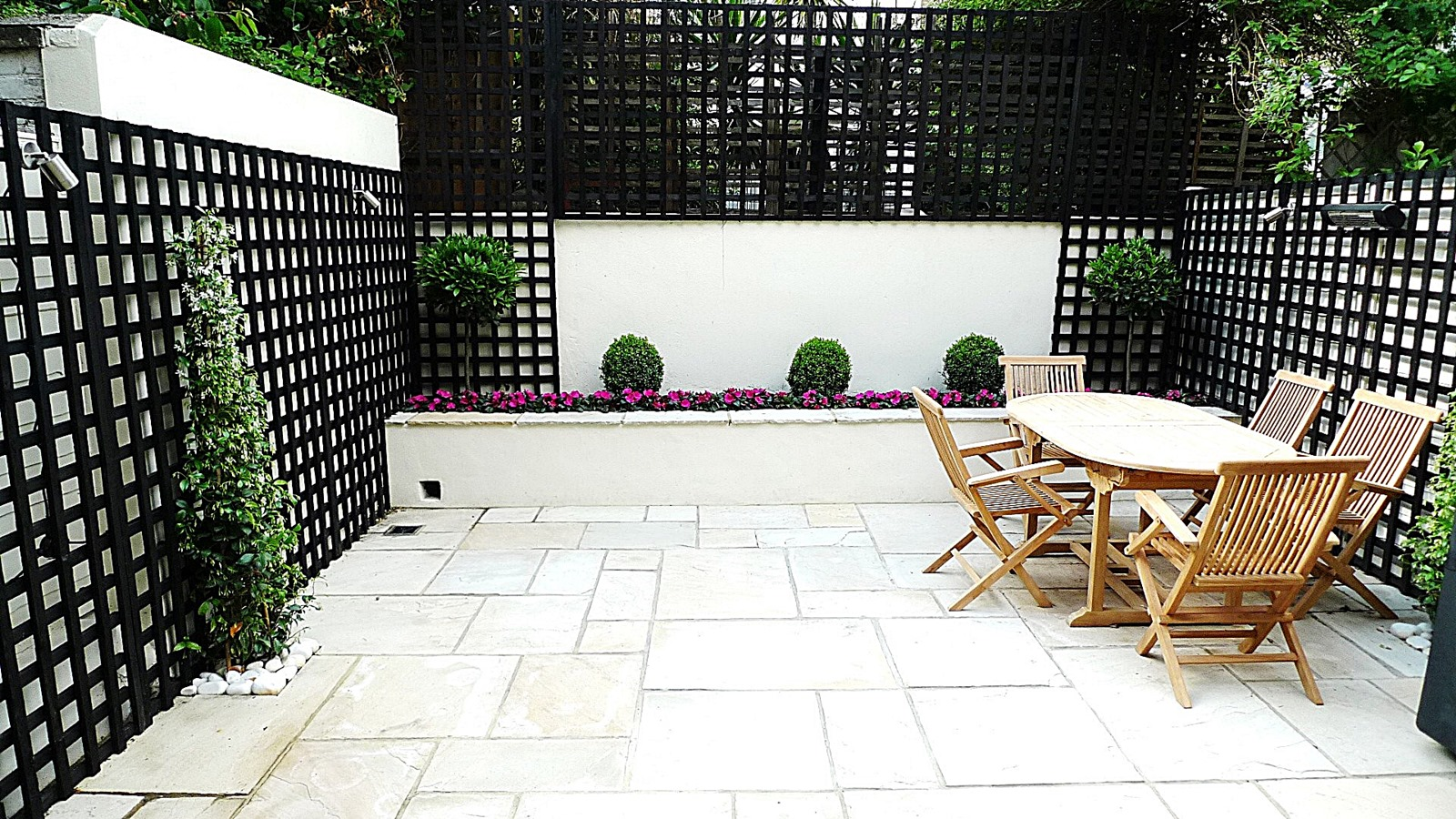 Sandstone paving patio raised beds classic modern planting ... on Black And White Backyard Decor  id=80763