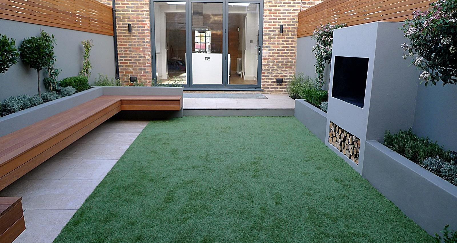 Modern garden designer London artificial grass hardwood ... on Contemporary Backyard  id=27602