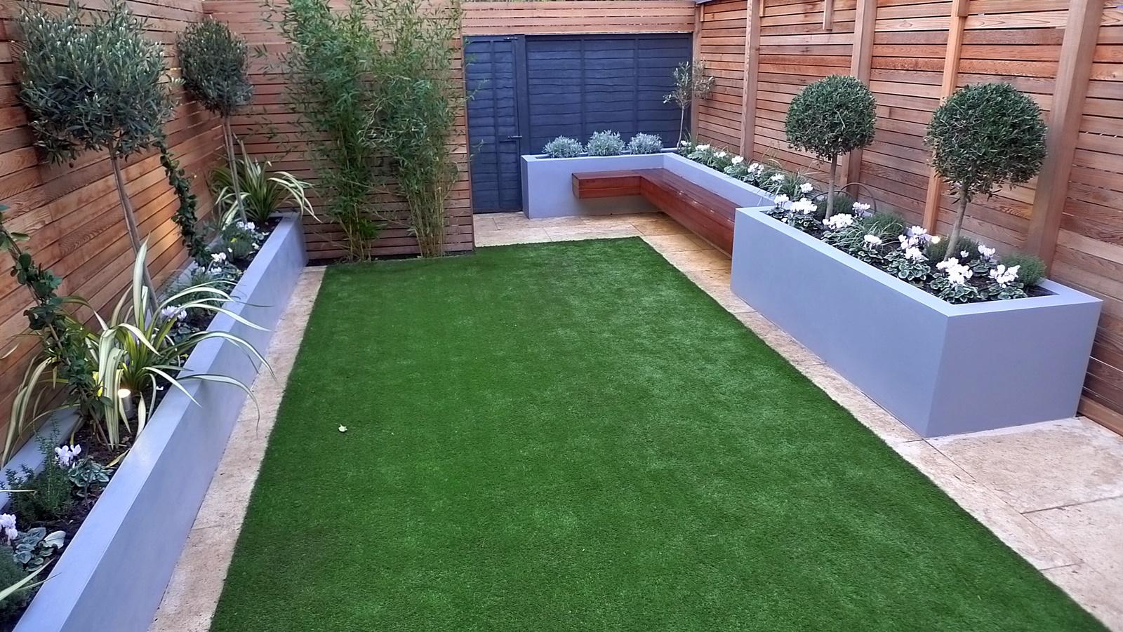 modern garden design small london cedar screen grey raised ... on Small Backyard Landscaping id=30081