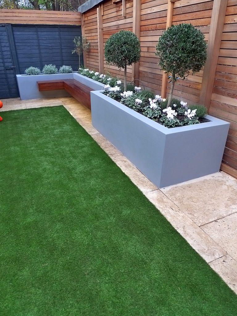 modern garden design small london cedar screen grey raised ... on Outdoor Backyard Designs id=25419