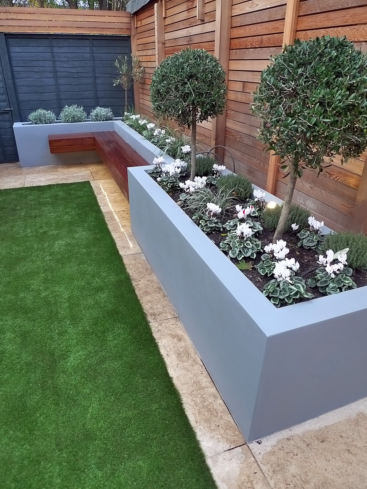 modern garden design small london cedar screen grey raised ... on Backyard Patio Layout id=71131