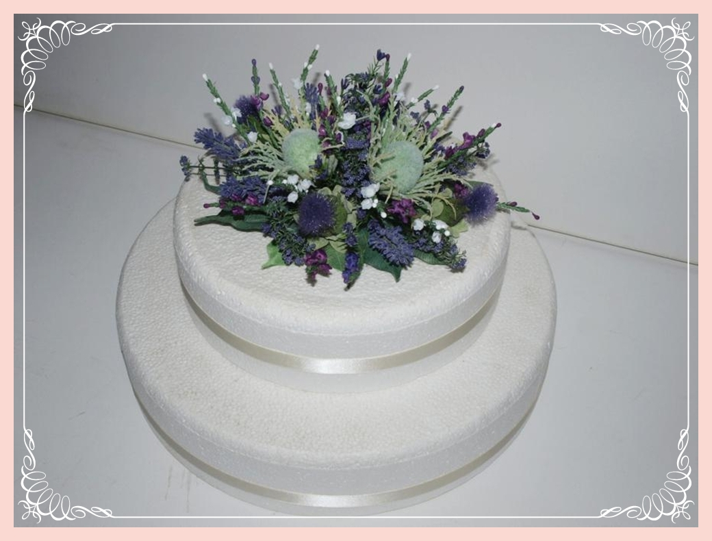 Scottish Thistle Heather And Lavender Cake Topper 1a