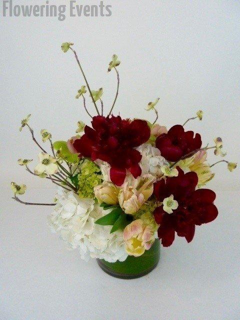 Peonies, dogwood, tulips and hydrangea