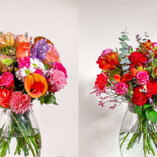 bright designer bouquet by Flowerist with colourful flowers