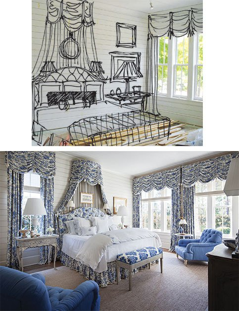 """One of the tools Hampton utilizes in her design process is to take a photo of a room and draw in furniture and accessories to help the homeowner visualize the end result, as seen in the """"before and after"""" of this blue-and-white bedroom. """"They're fun, and the clients love them because it really helps them see where we're headed,"""" says Hampton. 