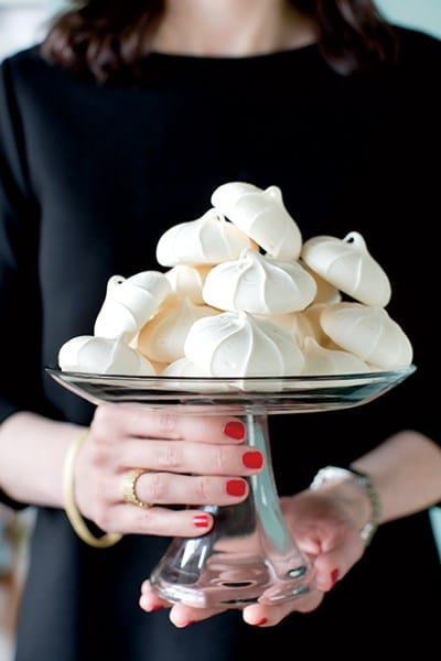 """I always provide a bite of something sweet such as meringues or macarons. They're usually storebought because I think that's easy to do with dessert,"" says Boles"