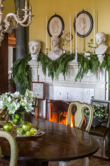 holiday mantel, white amaryllis and lime centerpiece