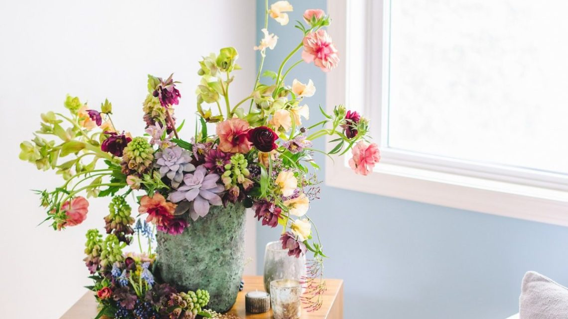 passionflower sue, side table arrangement