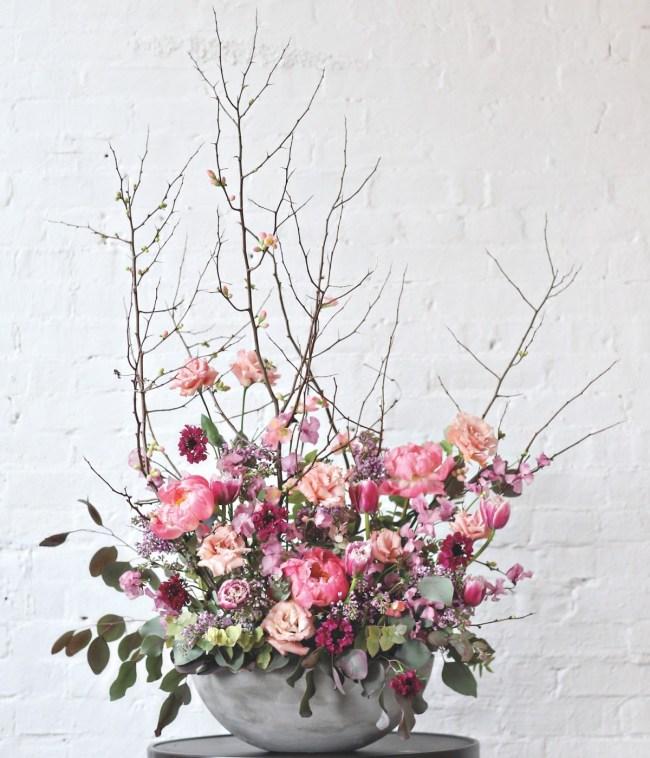 sullivan owen spring arrangements, pink arrangement