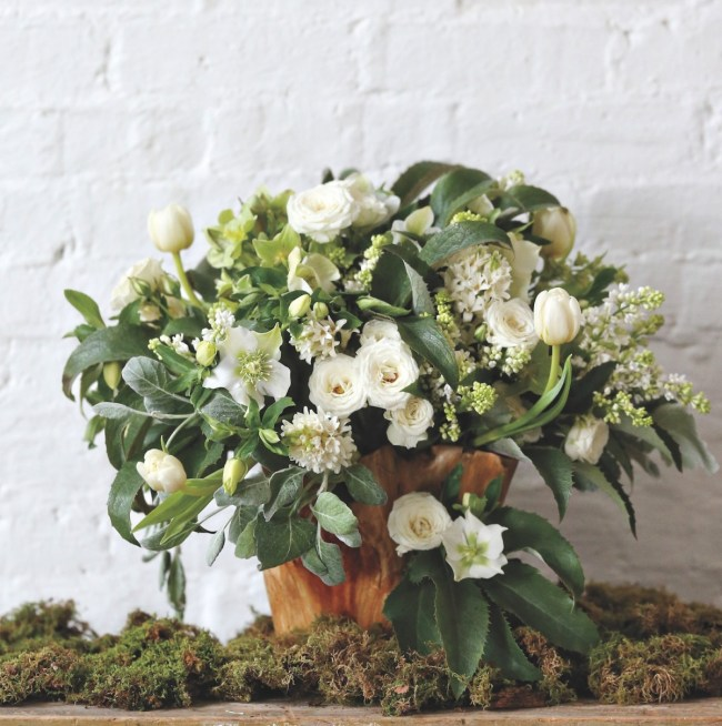 sullivan owen spring arrangements, hellebore arrangement