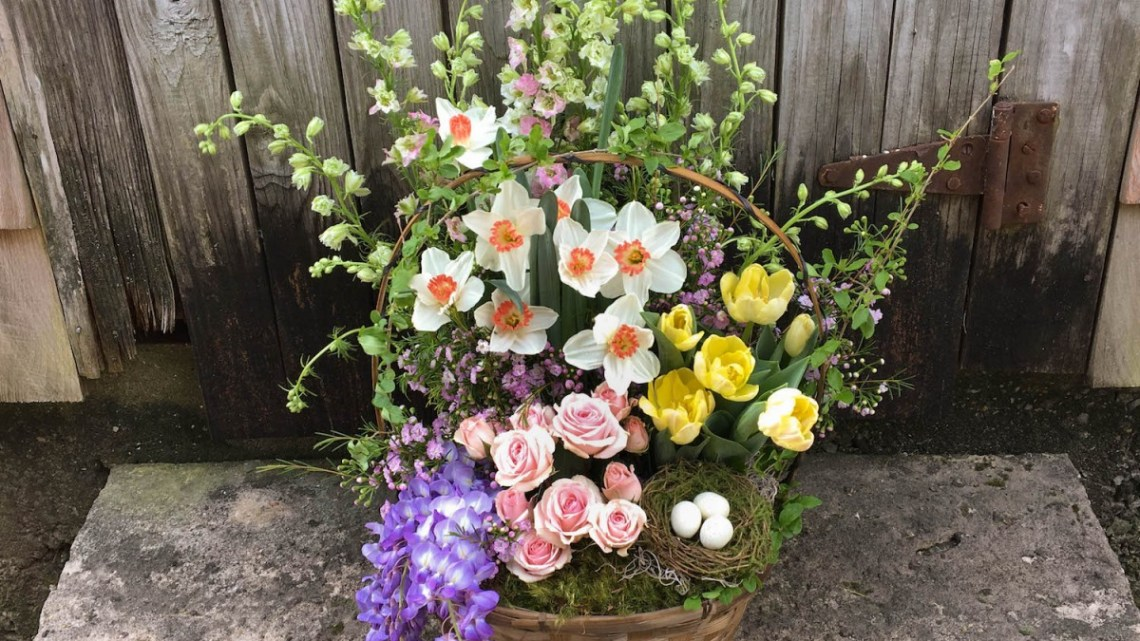 spring flower basket arrangement, easter basket flower arrangement