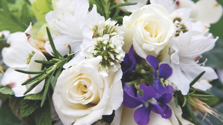 white tussie mussie, wedding flowers